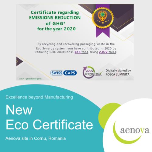 Umweltzertifikat für den Aenova-Standort in Cornu